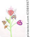 Children painting pencil flower view 63984997
