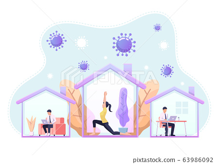 People doing activity or working at home to 63986092