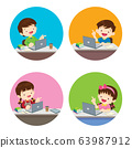 children Boy and Girl using technology gadget in 63987912