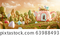 Unusual colorful easter 3d illustration 63988493