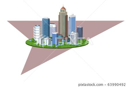 도시의 환경 변화를 표현한 화살표 들어간 일러스트 C 63990492
