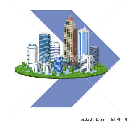 도시의 환경 변화를 표현한 화살표 들어간 일러스트 D 63990493