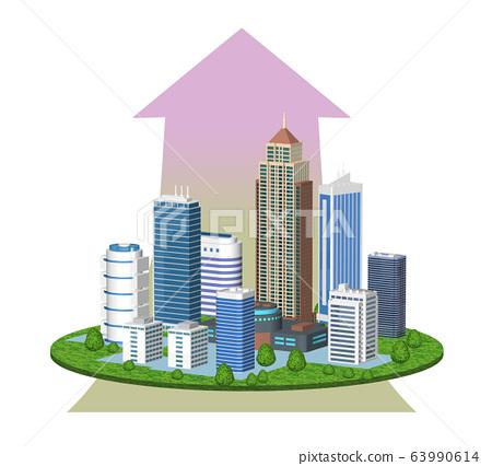 도시의 경제 성장을 표현한 화살표 들어간 일러스트 63990614