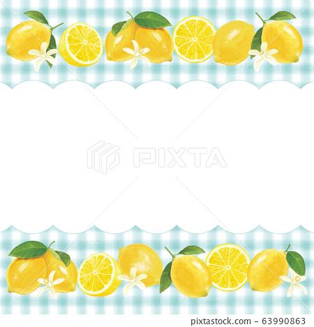 깅엄 체크와 레몬 테두리 63990863