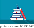 businessman search on notebook with exam preparation using paper book. 63993347