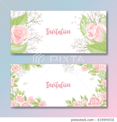 Set of two cards for wedding invitation, birthday greeting with rose flowers 63994058