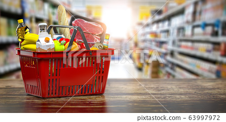 Shopping basket with fresh food. Grocery 63997972