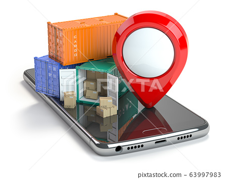Smartphone with cargo containers and pin isolated 63997983