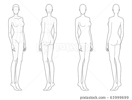 Fashion template of standing women.  63999699