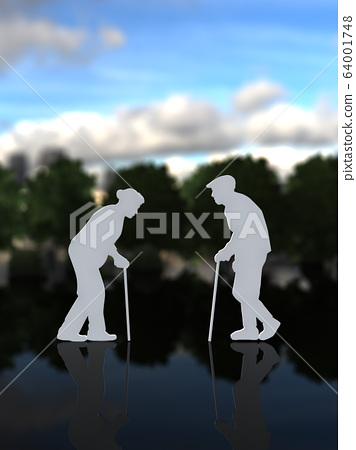 CG插图三维轮廓男人和女人老人老年人退休生活life 64001748