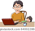 一個男人和一個孩子一起遠程工作(微笑) 64002286