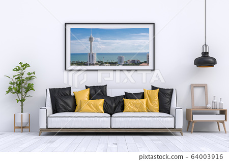 interior modern living room with sofa,  plant, lamp, decoration, 3D render 64003916
