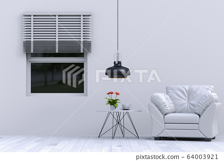 interior modern living room with sofa,  plant, lamp, decoration, 3D render 64003921