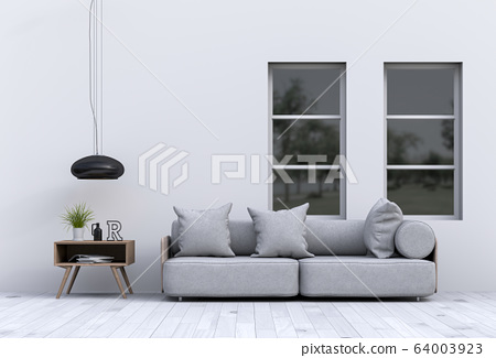 interior modern living room with sofa,  plant, lamp, decoration, 3D render 64003923