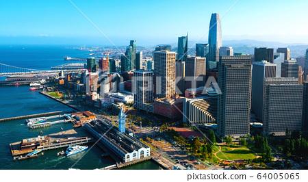 Downtown San Francisco aerial view 64005065
