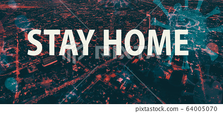 Stay home theme with downtown Los Angeles at night 64005070