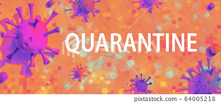 Quarantine theme with viral objects 64005218