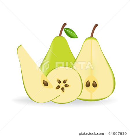 Green fresh pear isolated on white background. 64007630
