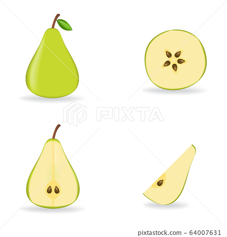 Green fresh pear isolated on white background. 64007631