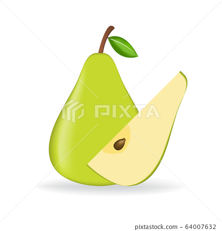 Green fresh pear isolated on white background. 64007632