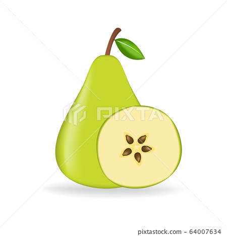 Green fresh pear isolated on white background. 64007634