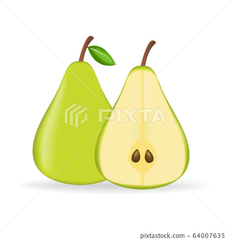 Green fresh pear isolated on white background. 64007635