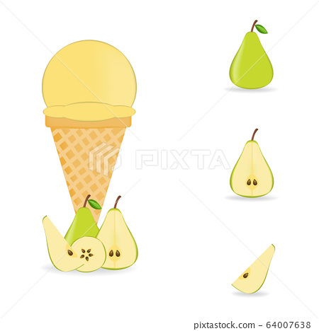 Vector illustration of colorful Fresh pear ice 64007638