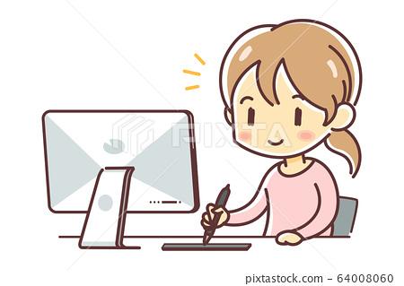 펜 태블릿을 사용하여 제작하는 여성 (mac · 판 탭) 64008060