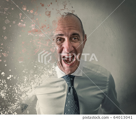 Stressed manager screaming desperate dissolve 64013041