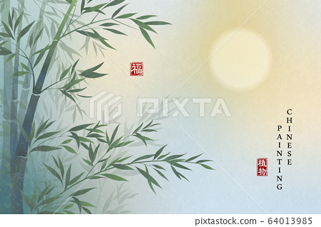 Chinese ink painting art background plant elegant landscape view of bamboo and full moon at night. Chinese translation 64013985