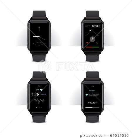 Smart Watch with Digital Display Set Vector Illustration 64014016