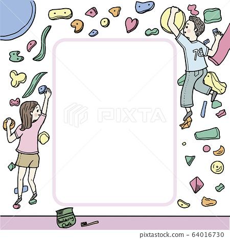볼더링의 일러스트 젊은 여자 남자 화려한 포스터 메모 등반 체육관 용으로도 64016730