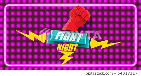 Fight night vector horizontal banner with text and strong fist. mma, wrestling or fight club emblem design template. fight label isolated on neon violet background 64017317