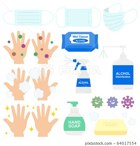 口罩,消毒,洗手的插圖 64017554