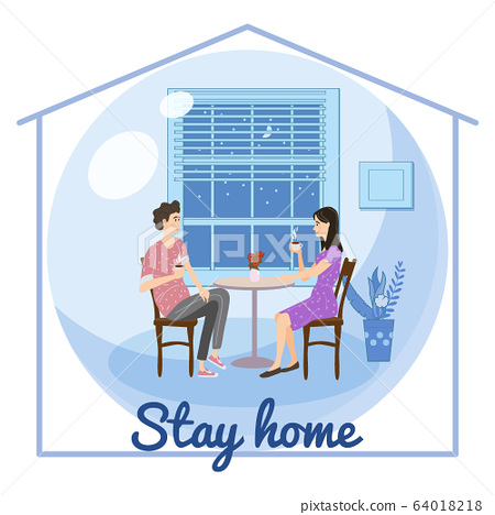 Stay home quarantine consept banner self isolation. Young couple family sitting at home drink tea or coffee smiling and staying together. Social media campaign and coronavirus covid 19 prevention 64018218
