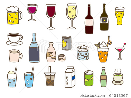 Hand drawn style set of various drinks such as beer, wine, juice and coffee 64018367