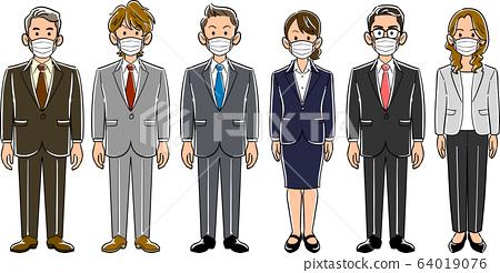 6位戴著口罩的商務人士無姿勢的男女 64019076