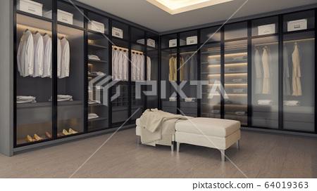 Modern luxury dressing room interior ,walk in closet , gray and black wardrobe design ,3d rendering 64019363