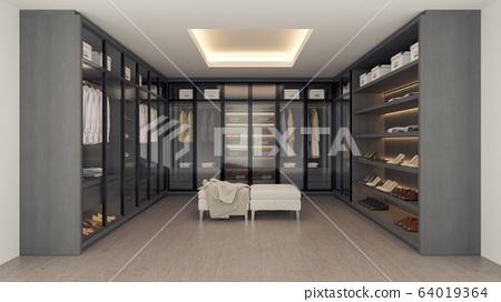 Modern luxury dressing room interior ,walk in closet , gray and black wardrobe design ,3d rendering 64019364