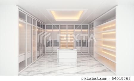 Modern luxury walk in closet interior, white wardrobe on mable floor ,3d rendering 64019365