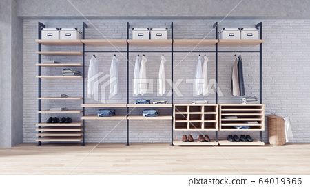 Modern loft dressing room  interior concept, walk- in closet,wood wardrobe on white brick wall and woodfloor,3d rendering 64019366