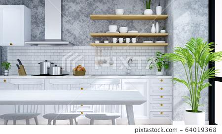 Modern and loft  kitchen ,pantry, dinning room ,White  modern furniture on woodfloor and concrete floor .3drender 64019368