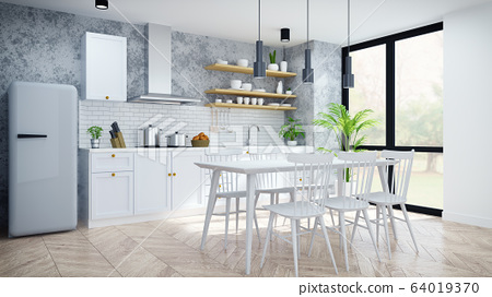 Modern and loft  kitchen ,pantry, dinning room ,White  modern furniture on woodfloor and concrete floor .3drender 64019370