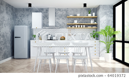 Modern and loft  kitchen ,pantry, dinning room ,White  modern furniture on woodfloor and concrete floor .3drender 64019372