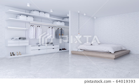 Modern Loft of bedroom and dressing room interior ,walk in closet with white wardrobe,white brick wall and concrete floor ,3d rendering 64019393