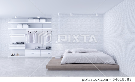 Modern Loft of bedroom and dressing room interior ,walk in closet with white wardrobe,white brick wall and concrete floor ,3d rendering 64019395