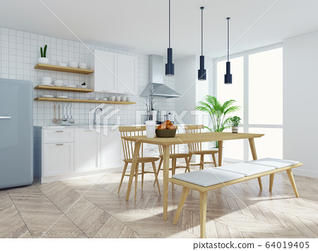 Modern scandinavian kitchen and dinning  room interior,wood table and chair with white counter ,pantry room .3drender 64019405