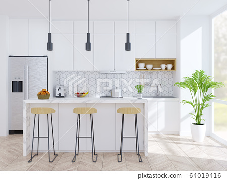 Modern kitchen and dinning room ,wood Stool with mable counter bar and modern furniture ,white pantry room .3drender 64019416