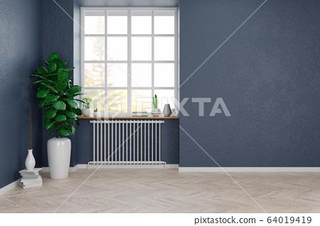 Modern scandinavian style , living room interior concept, wood floor with blue grunge wall,empty room,3D render 64019419