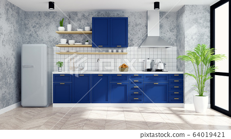 Modern Loft kitchen room interior ,blue counter and modern furniture ,white pantry room .3d render 64019421